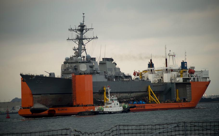 The Arleigh Burke-class guided-missile destroyer USS Fitzgerald (DDG 62) departed Pier 9 at Fleet Activities Yokosuka, on Dec. 1, 2017.