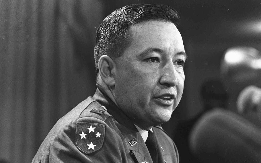 U.S. Army Capt. Ernest Medina, a key figure in the 1968 My Lai massacre during the Vietnam War, speaks at a news conference at the Pentagon on Dec. 4, 1969. Medina died on May 8, 2018. He was 81.