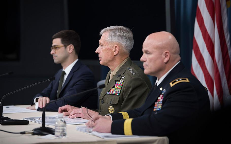 Marine Gen. Thomas D. Waldhauser, commander, U.S. Africa Command, speaks to reporters at the Pentagon on May 10, 2018 about the results of the investigation of the Oct. 4, 2017 ambush in Niger.  Assistant Secretary of Defense for International Security Affairs Robert S. Karem is on the left and Army Maj. Gen. Roger L. Cloutier Jr., chief of staff, U.S. Africa Command, and lead investigating officer, is on the right.