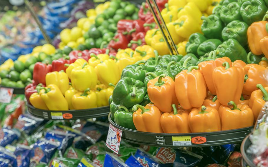 Fresh vegetables on the shelves at the Sagamihara Family Housing Area Commissary in Japan in 2017.