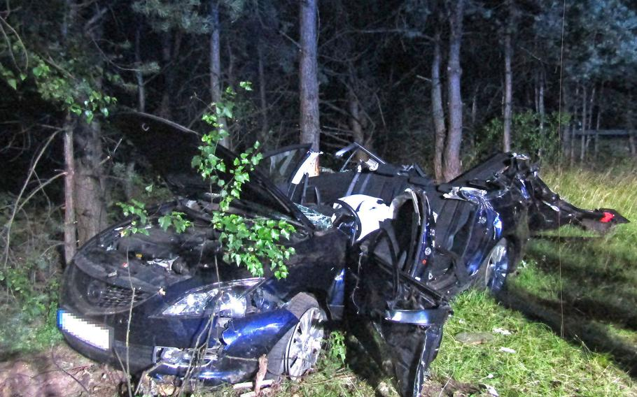 A 51-year-old American civilian was seriously injured in a single-vehicle crash Sunday, July 1, 2018, on the A62 near Landstuhl, Germany when he attempted to pass a car in order to exit the highway.
