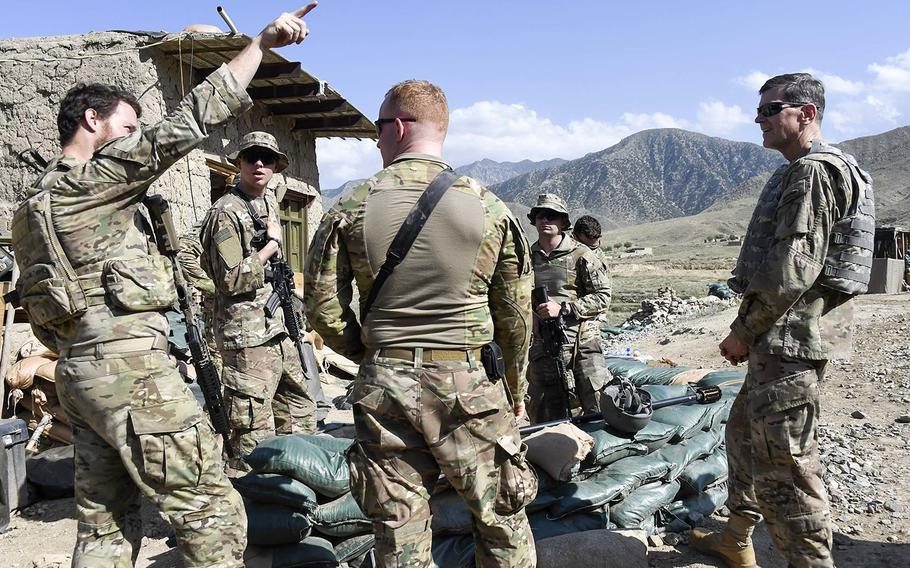 U.S. Army Gen. Joseph Votel, right, the commander of U.S. Central Command, visits servicemembers deployed to Nangarhar Province, Afghanistan, May 9, 2018.