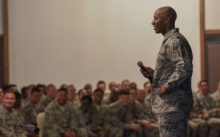 Chief Master Sgt. of the Air Force Kaleth O. Wright speaks to U.S. Air Force airmen during an enlisted all-call at Ramstein Air Base, Germany on Thursday, July 26, 2018. He held a town hall at Spangdahlem Air Base on Friday.