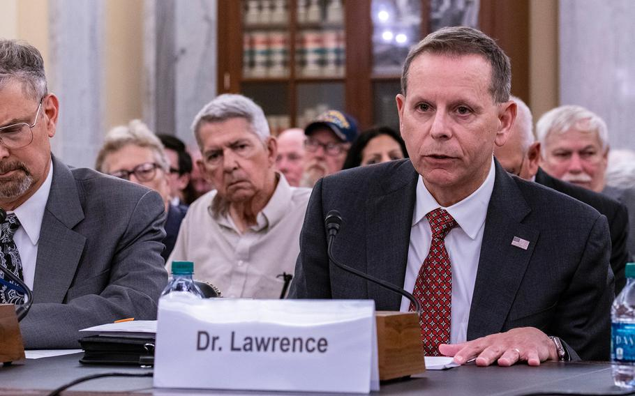 Department of Veterans Affairs undersecretary of benefits Paul Lawrence testifies during a Senate Veterans Affairs Committee hearing on Wednesday, Aug. 1, 2018. Lawrence urged senators Wednesday to vote against legislation that would extend VA benefits to sailors who served off the coast during the Vietnam War and claim their illnesses were caused by exposure to Agent Orange.