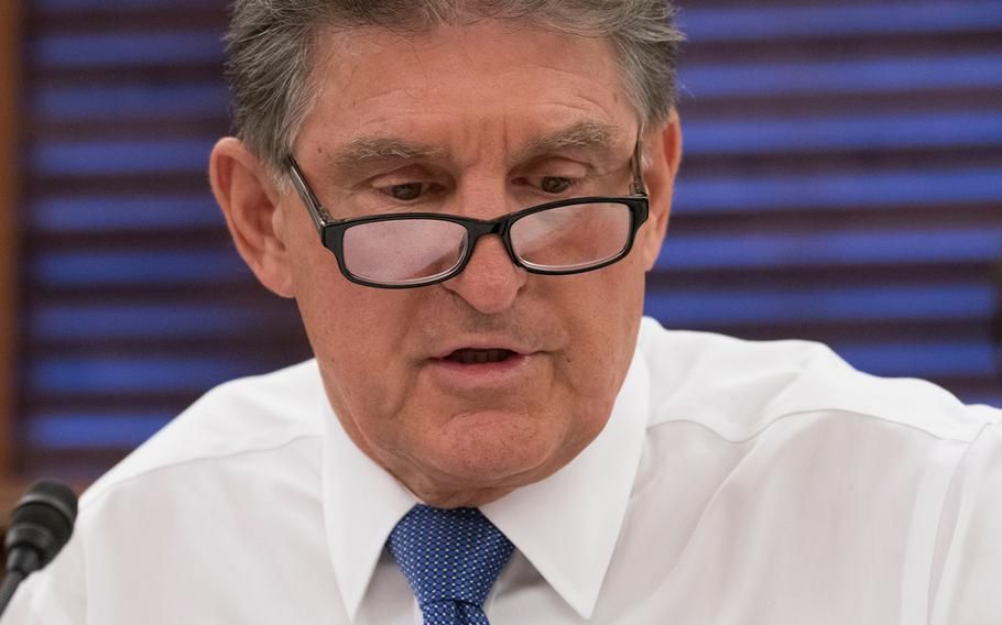 """Sen. Joe Manchin; D-W.Va. addresses witnesses on Aug. 1, 2018, during a Senate Veterans Affairs Committee hearing on Capitol Hill in Washington. """"We shouldn't even be here talking about this."""" Manchin said of the hearing into legislation concerning Blue Water sailors who may have been affected by Agent Orange during the Vietnam War. """"I don't think they're asking for much. If you're exposed; you're exposed."""""""