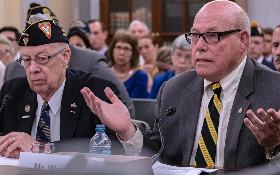"""Vietnam Veterans of America representative Rick Weidman testifies Wednesday, Aug. 1, 2018, during a Senate Veterans Affairs Committee hearing as members heard arguments for and against the Blue Water Navy Vietnam Veterans Act.  Weidman noted that Congress already presumes veterans who served anywhere in Vietnam were exposed to Agent Orange and doesn't try to calculate the level of exposure. That benefit of the doubt should be applied to shipboard personnel too. """"How much [exposure] makes no difference,"""" he said. At left is National Executive Director for the Fleet Reserve Association Thomas Snee."""
