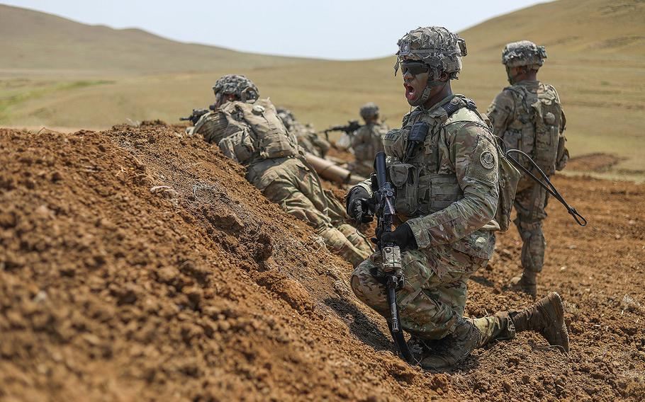 Members of Lightning Troop, 3rd Squadron, 2d Cavalry Regiment completes day two of squad live fire training in preparation for upcoming troop live fire exercises during Noble Partner 18 at the Vaziani Training Area, Georgia, Aug. 2, 2018.