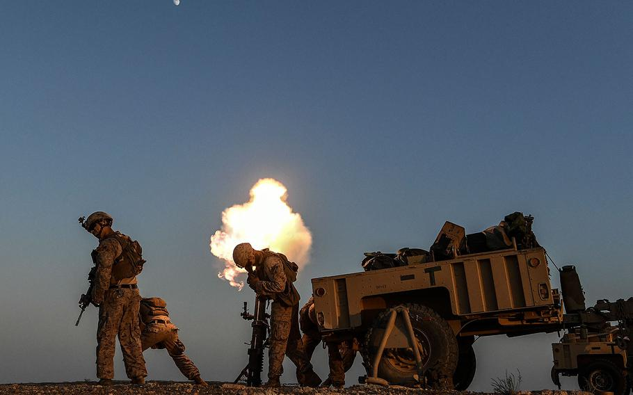 U.S. Marines fire a mortar during training in support of Operation Inherent Resolve in Syria, July 23, 2018.