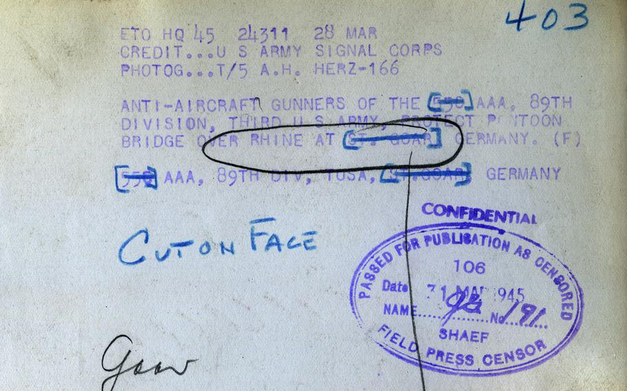 The reverse side of the St. Goar photo, with censor's stamps and markings.