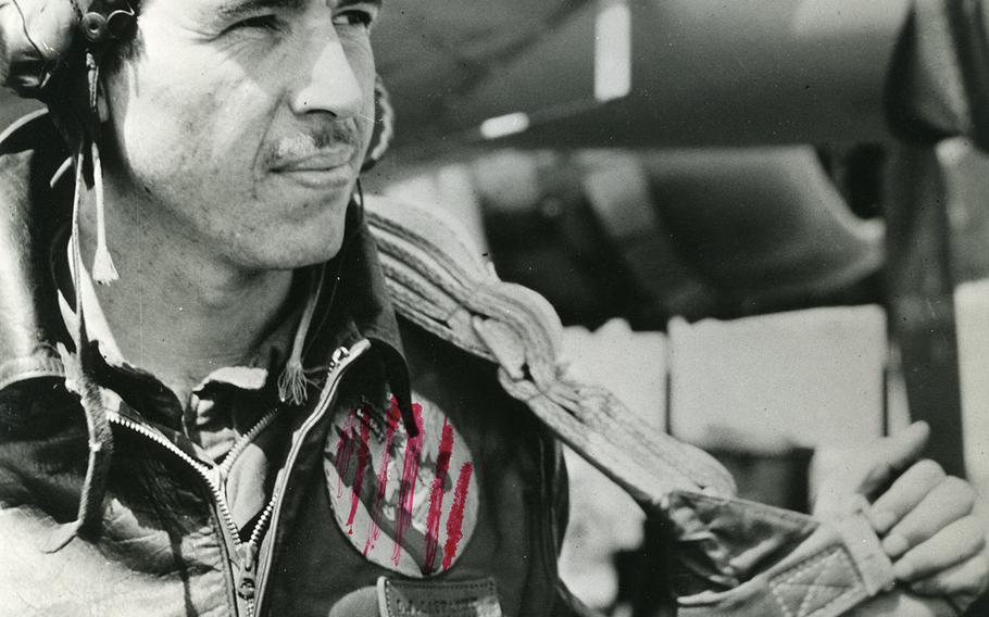 The patch on the pilot's jacket was deemed off-limits by the censor.