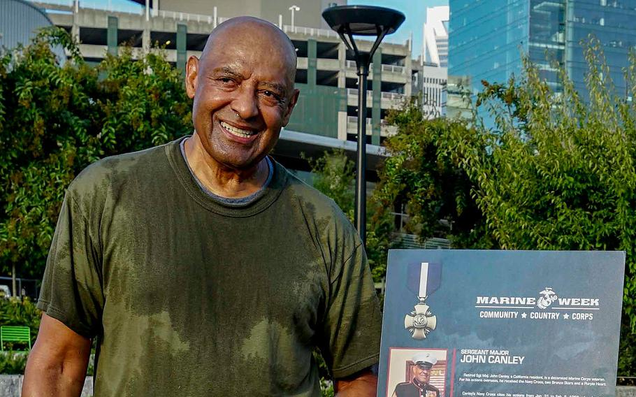 Retired U.S. Marine Corps Sgt. Maj. John Canley poses for a photo after a physical training session during Marine Week in Charlotte, N.C., Sept. 7 2018.