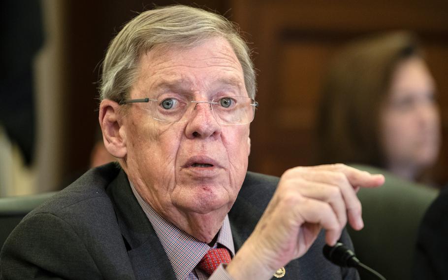 Senate Veterans Affairs Committee Chairman Johnny Isakson, R-Ga., addresses VA Secretary Robert Wilkie during a hearing on Capitol Hill in Washington on Wednesday, Sept. 26, 2018.