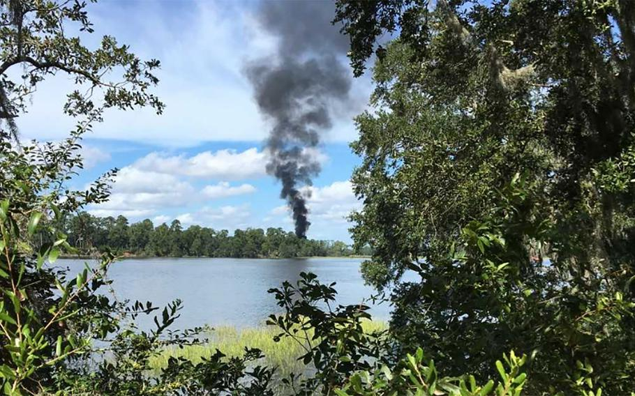 A military plane crashed five miles outside Marine Corps Air Station in Beaufort just before noon Friday, according to the Beaufort County Sheriff's Office.
