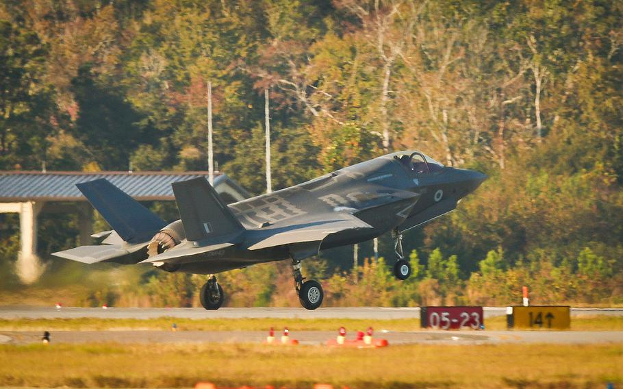 An F-35B Lightning II Joint Strike Fighter takes off from Marine Corps Air Station Beaufort, Nov. 6, 2017.