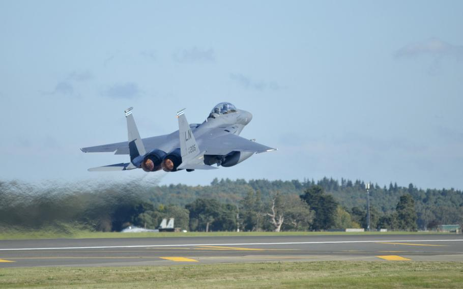 An F-15E Eagle from the 492nd Fighter Squadron takes off from RAF Lakenheath, England, Thursday, Oct. 11, 2018, during an exercise hosted by the 48th Fighter Wing.