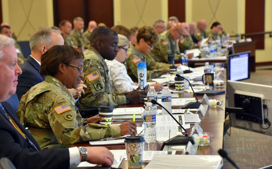 Leaders from across the Department of Defense, the Army and Fort Bragg meet at Forces Command Heaquarters July 19, 2018 to discuss the upcoming transition of the administration and management of Womack Army Medical Center from the U.S. Army Medical Command to the Defense Health Agency.