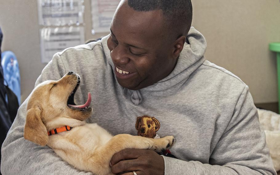 """Military consultant Jamel Daniels, part of the cast of the new TV show """"The Village"""" visit Warrior Canine Connection in Boyds, Maryland, on November 10, 2018, to learn about service dogs and their role helping veterans. The show will air in 2019."""
