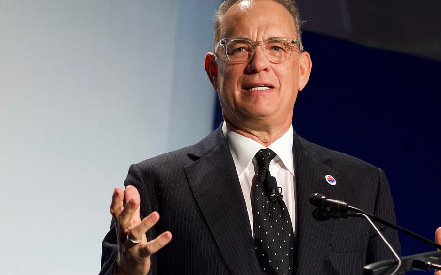 Actor Tom Hanks speaks at the Elizabeth Dole Foundation's Heroes and History Makers event in Washington, D.C., Nov. 29, 2018. Hanks was honored for his advocacy of military caregivers.