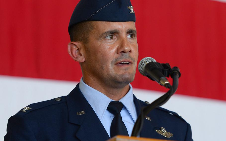 In a June, 2017 file photo, Col. Charles Velino, incoming 47th Flying Training Wing commander, speaks to those attending the wing's change of command ceremony at Laughlin Air Force Base, Texas.