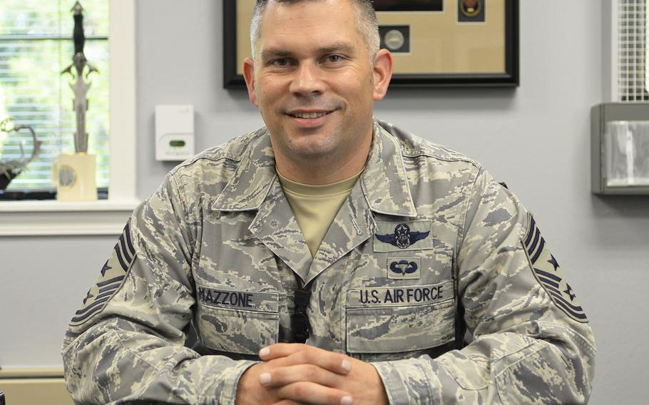 Chief Master Sgt. Thomas Mazzone, at his desk on Barksdale Air Force Base, La., in 2014.