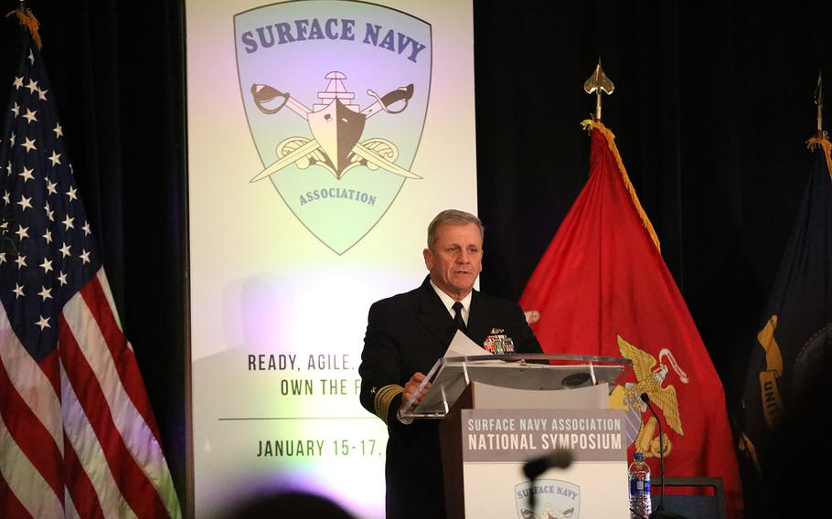 """Vice Adm. Richard Brown, commander of Naval Surface Forces/Naval Surface Force U.S. Pacific Fleet, speaks at the Surface Navy Association's 31st National Symposium Tuesday in Arlington, Va. The theme of this year's gathering is """"Ready, Agile, Focused: Own the Fight!"""""""