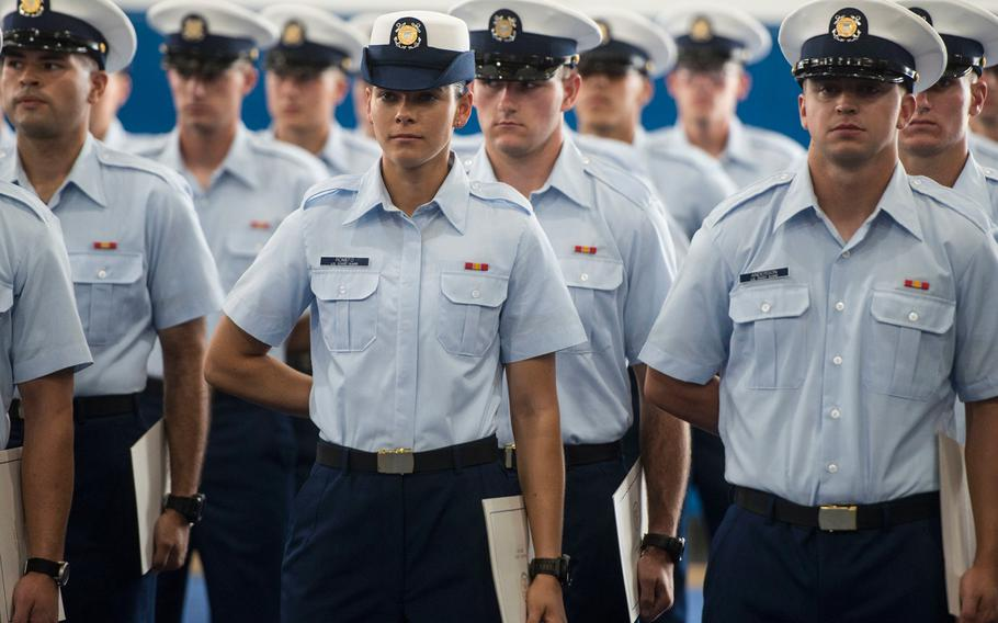 Coast Guard recruits graduate from basic training at Training Center Cape May, N.J., on July 28, 2017.
