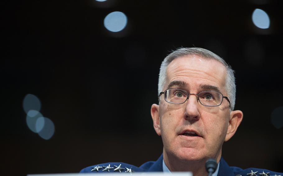 Commander of the U.S. Strategic Command Gen. John Hyten testifies during a Senate Armed Services Committee hearing on Capitol Hill in Washington on Feb. 26, 2019.