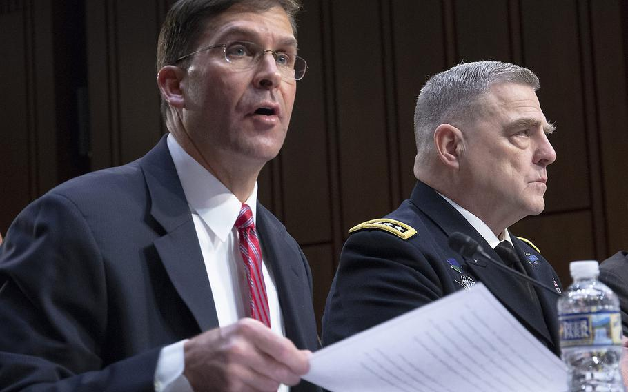 Army Secretary Mark T. Esper testifies at a Senate Armed Services Committee hearing on military housing problems, March 7, 2019, on Capitol Hill. Next to him is Army Chief of Staff Gen. Mark A. Milley.