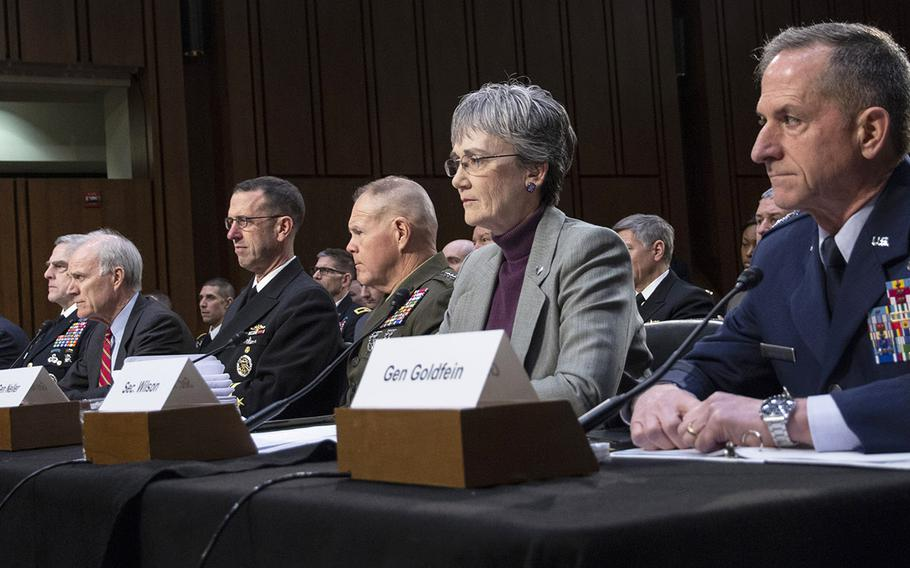 Testifying at a Senate Armed Services Committee hearing on military housing problems, March 7, 2019, on Capitol Hill are, left to right, Army Secretary Mark T. Esper, Army Chief of Staff Gen. Mark A. Milley, Navy Secretary Richard V. Spencer, Chief of Naval Operations Adm. John M. Richardson, Marine Corps Commandant Gen. Robert B. Neller, Air Force Secretary Heather A. Wilson and Air Force Chief of Staff Gen. David L. Goldfein.