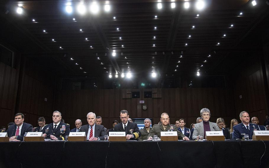 Testifying at a Senate Armed Services Committee hearing on military housing problems, March 7, 2019, on Capitol Hill are, left to right, Army Secretary Mark T. Esper, Army Chief of Staff Gen. Mark A. Milley, Navy Secretary Richard V. Spencer, Chief of Naval Operations Adm. John M. Richardson, Marine Corps Commandant Gen. Robert B. Neller, Air Force Secretary Heather A, Wilson and Air Force Chief of Staff Gen. David L. Goldfein.