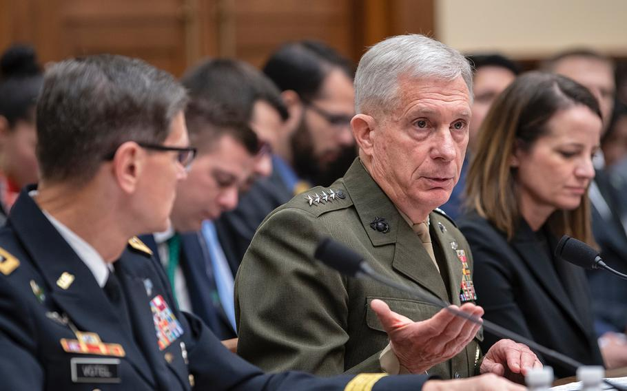 Commander of the U.S. Africa Command Gen. Thomas Waldhauser testifies on Thursday, March 7, 2019, during a House Armed Services Committee hearing on Capitol Hill in Washington. Also testifying was Commander of the U.S. Central Command Gen. Joseph Votel at left.