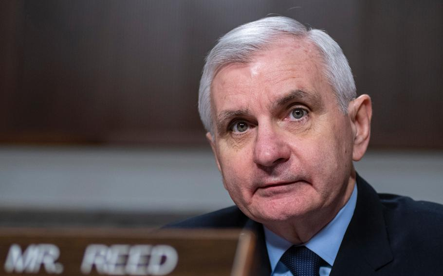 Senate Armed Services Committee Ranking Member Sen. Jack Reed, D-R.I., asks a question about using military funds to build a wall along the U.S.-Mexican border.