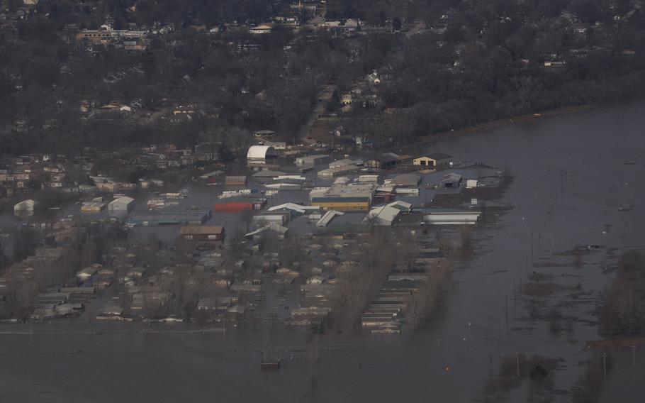 Flood waters swarm over portions of Offutt Air Force Base in Nebraska as seen in a Nov. 20, 2019 posting.
