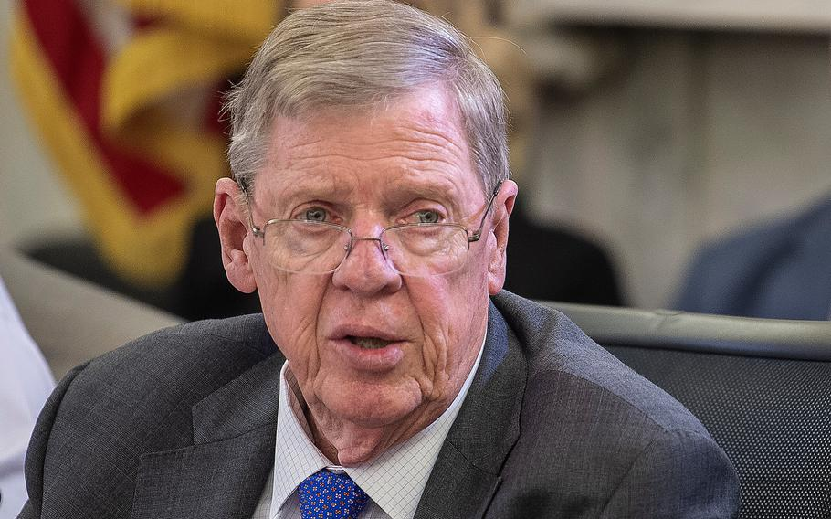 Chairman of the Senate Committee on Veterans' Affairs Sen. Johnny Isakson, R-Ga., gives opening remarks during a hearing on Capitol Hill on Tuesday, March 26, 2019. Isakson said if a court ruling that could extend benefits to Vietnam veterans who served on ships offshore during the war goes unchallenged, the process of extending the benefits will be a formidable task.