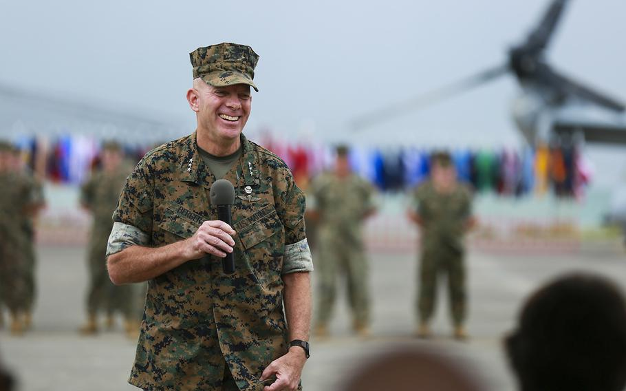 Lt. Gen. David H. Berger speaks during the U.S. Marine Corps Forces, Pacific change of command ceremony at Marine Corps Base Hawaii, Aug. 8, 2018. During the ceremony, Berger relinquished command to Lt. Gen. Lewis A. Craparotta. Berger has been nominated to become the next commandant of the Marine Corps.