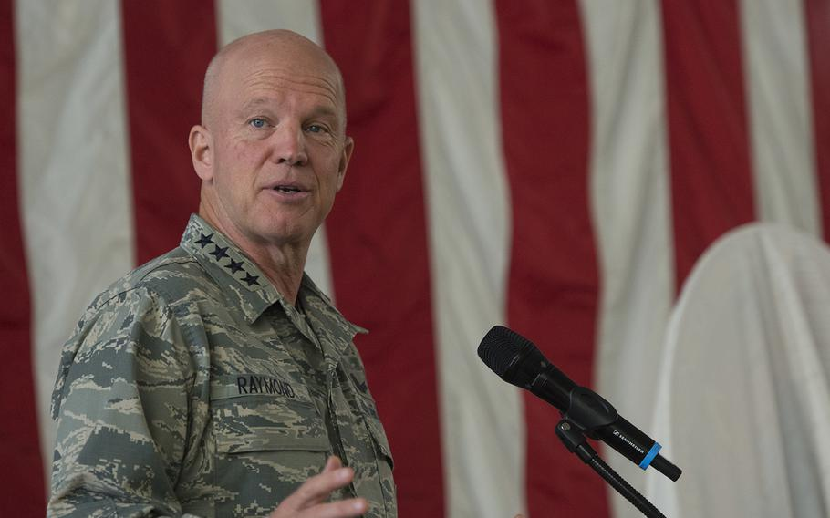 U.S. Air Force Gen. Jay Raymond, commander of Air Force Space Command and Joint Force Space Component, U.S. Strategic Command, presides over a ceremony at Vandenberg Air Force Base, Calif., July 18, 2018.  President Donald Trump has nominated Raymond to lead the new U.S. Space Command.