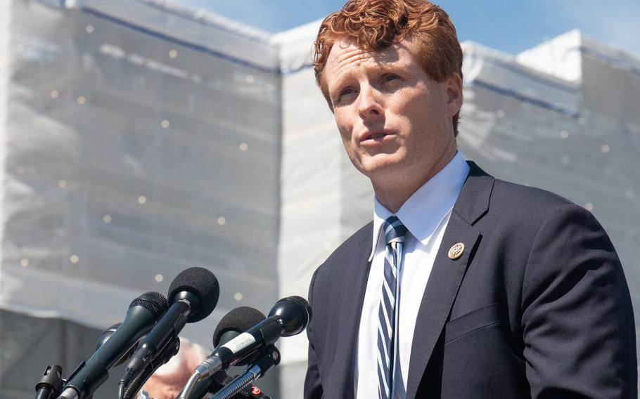 Rep. Joe Kennedy III, D-Mass., speaks in front of the Capitol on Thursday, March 28, 2019. Kennedy authored H.Res 124, a resolution condemning a controversial Trump administration ban of transgender personnel in the military.