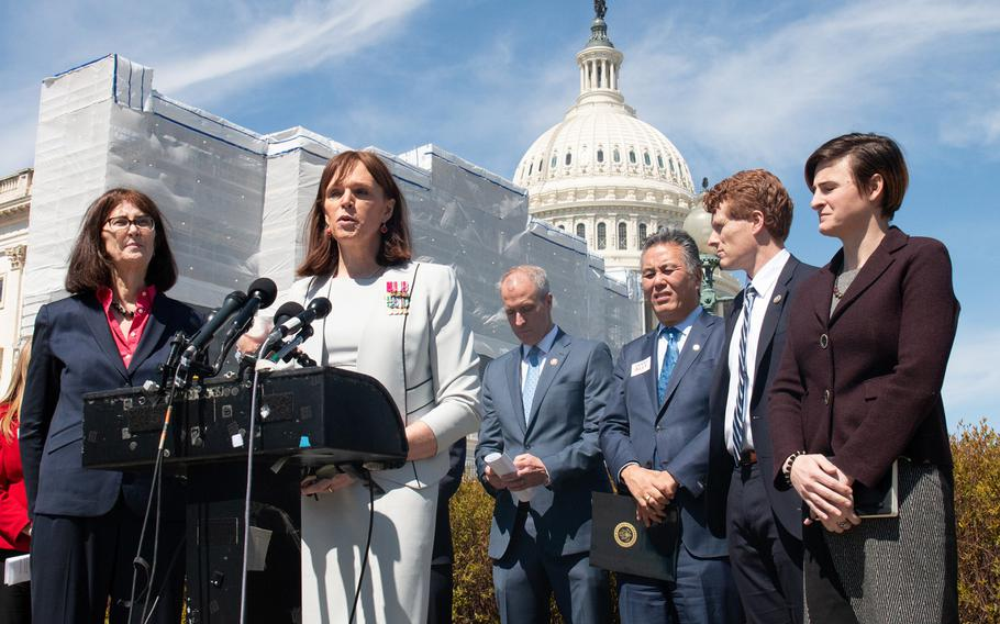 Retired Army Lt. Col. Ann Murdoch speaks about transgendered persons in the military in front of the Capitol in Washington, D.C., on Thursday, March 28, 2019.