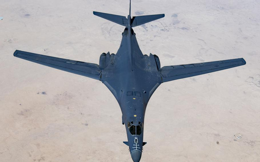 A U.S. Air Force B-1B Lancer bomber in the air over Qatar during Joint Air Defense Exercise 19-01, Feb. 19, 2019.