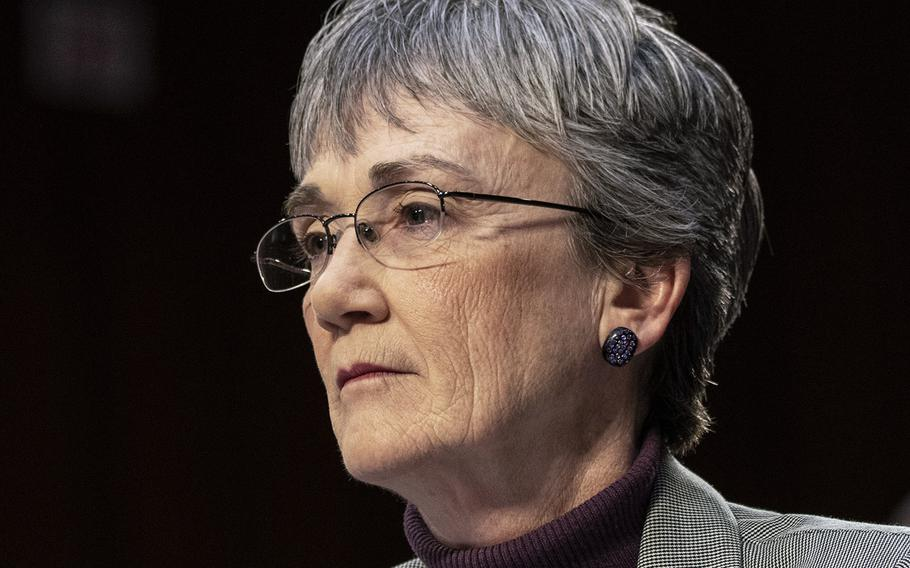 """Air Force Secretary Heather Wilson, seen here at a Senate hearing in March, 2019, says that """"given the threats that we face ... we need to build a larger and more capable Air Force."""""""