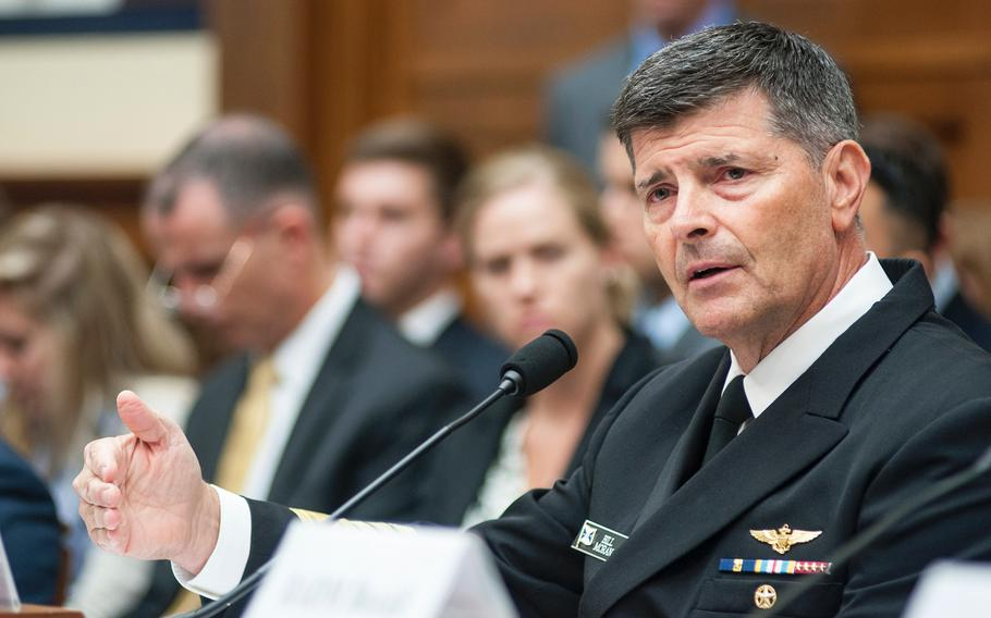 Vice Chief of Naval Operations Adm. Bill Moran answers questions at a House Committee on Armed Services hearing on Thursday, Sept. 7, 2017, on Capitol Hill in Washington, D.C.