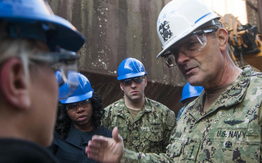 U.S. Navy Adm. Bill Moran, the vice chief of naval operations, speaks with sailors assigned to the Nimitz-class aircraft carrier USS George Washington on Jan. 10, 2018.