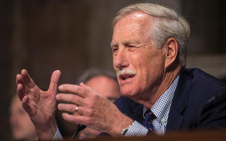 """Sen. Angus King, D-Maine, asks a question during a Senate Armed Services Committee hearing on Capitol Hill in Washington on Thursday, April 11, 2019. King expressed qualms he has about """"a new bureaucracy that is going to cost us half-a-billion dollars a year,"""" he said in reference to plans to create a new Space Force command."""