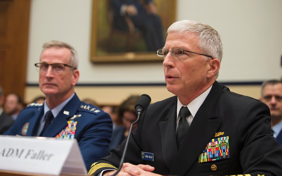 Adm. Craig Faller, commander of the U.S. Southern Command, right, testifies during a House Armed Services Committee hearing on Capitol Hill in Washington on Wednesday, May 1, 2019, as Gen. Terrence John O'Shaughnessy, commander of the U.S. Northern Command, looks on.