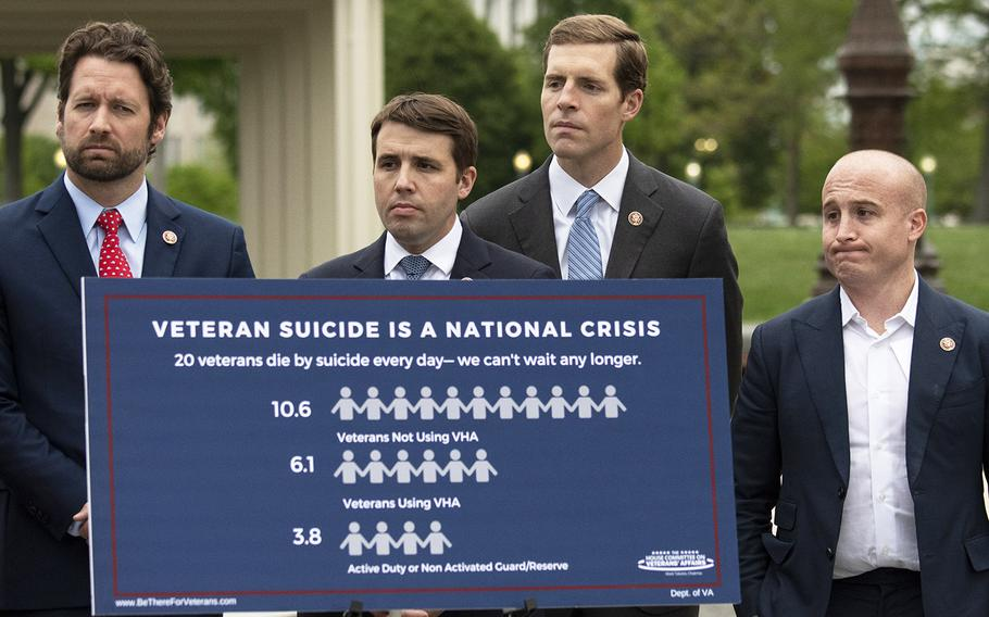 House Veterans' Affairs Committee members Reps. Joe Cunningham, D-S.C., Chris Pappas, D-N.H., Conor Lamb, D-Pa., and Max Rose, D-N.Y., left to right, Stand behind a suicide awareness poster at a Capitol Hill press conference in April. On Wednesday, the panel sent 18 bills to the full House for approval, including H.R. 2340, the FIGHT Veterans Suicide Act.