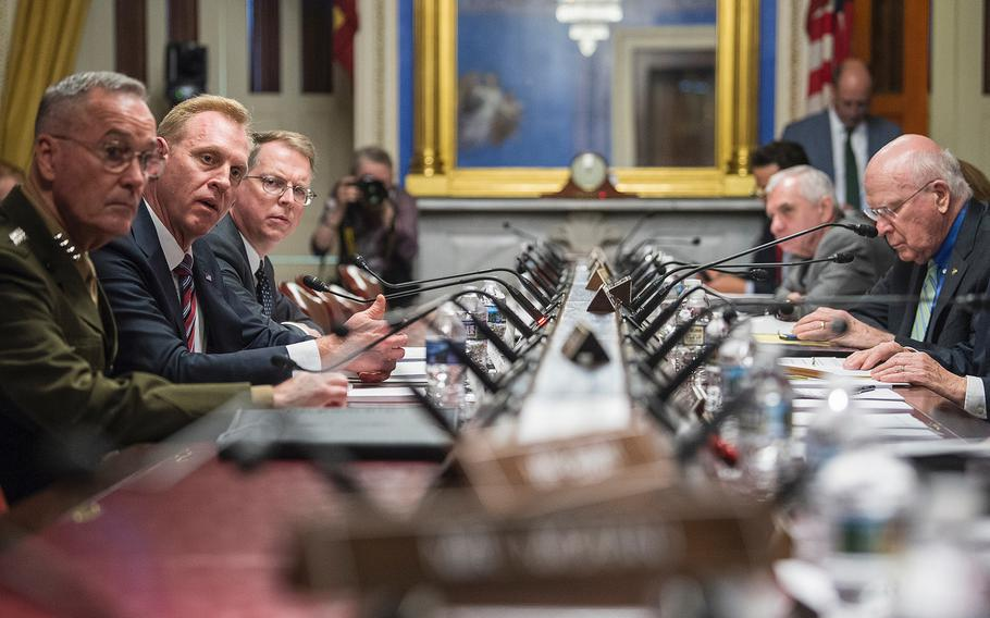 Acting Defense Secretary Patrick Shanahan, center left, answers questions during a Senate Appropriations subcommittee hearing on Capitol Hill in Washington on Wednesday, May 8, 2019. Looking on are Chairman of the Joint Chiefs of Staff Gen. Joseph Dunford and Under Secretary of Defense David Norquist, the DOD's chief financial officer. A panel of committee members at right include from left, Sen. Brian Schatz, D-Hawaii, Sen. Jack Reed, D-R.I., and Sen. Patrick Leahy, D-Vt.