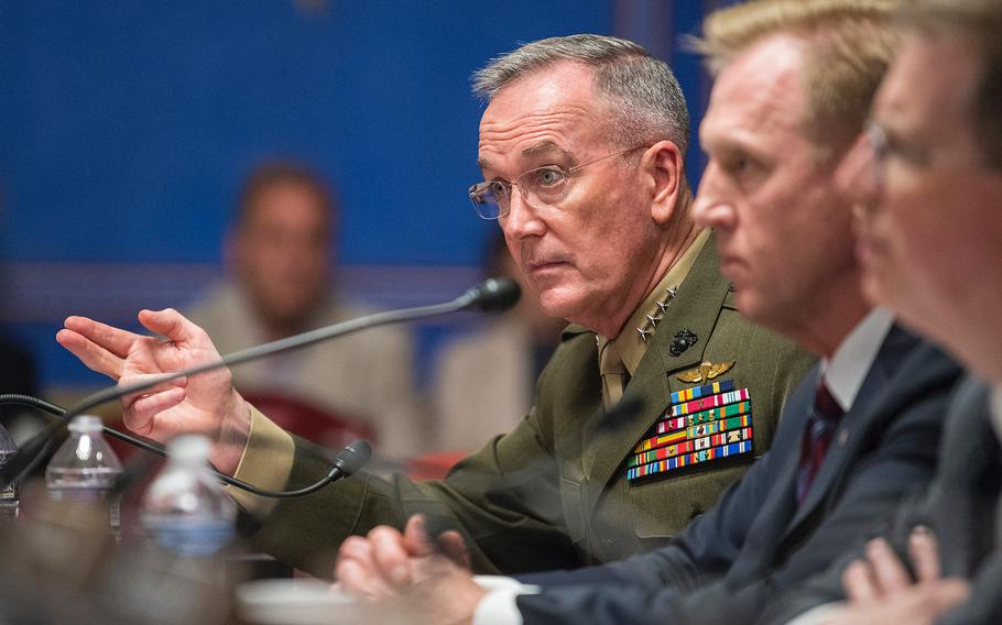 Joint Chiefs of Staff Chairman Gen. Joseph Dunford testifies during a Senate Appropriations subcommittee hearing on Capitol Hill in Washington on Wednesday, May 8, 2019. In the foreground are Acting Defense Secretary Patrick Shanahan, center, and Under Secretary of Defense David Norquist, the DOD's chief financial officer.