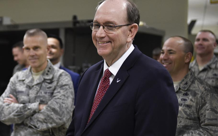 Under Secretary of the Air Force Matthew Donovan visits the 365th Training Squadron at Sheppard Air Force Base, Texas, Feb. 14, 2019.
