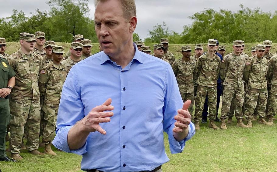 Acting Defense Secretary Patrick Shanahan speaks with troops near McAllen, Texas, on May 11, 2019.