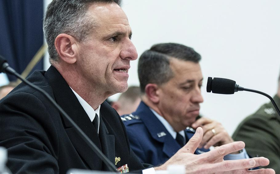 Chief of Naval Personnel Vice Adm.Robert P. Burke answers a question during a House Armed Services Subcommittee on Military Personnel hearing on Capitol Hill, May 16, 2019. Next to him is Air Force Deputy Chief of Staff for Manpower, Personnel and Services Lt. Gen. Brian T. Kelly.
